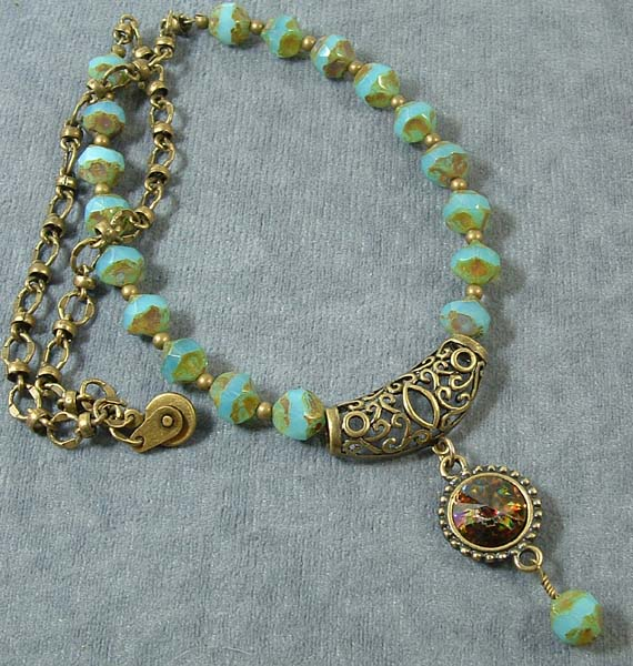 blue & bronze necklace