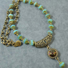 blue & bronze necklace
