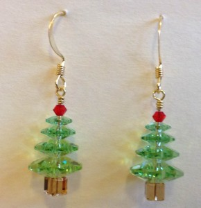 Christmas tree earrings - ready to wear!