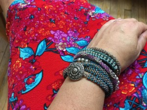 Funky Amanda in her LuLaRoe Cassie skirt and stack of bracelets!